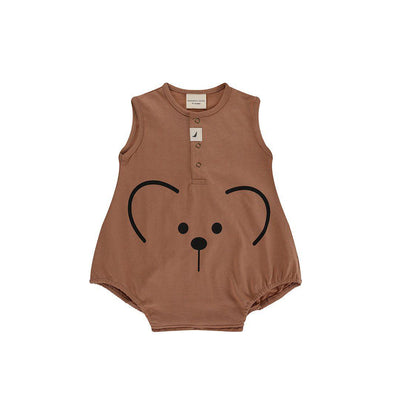 Turtledove London Bear Face Bubble Romper - Clay-Rompers- Natural Baby Shower