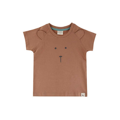 Turtledove London Bear Face T-Shirt - Clay-Short Sleeves- Natural Baby Shower