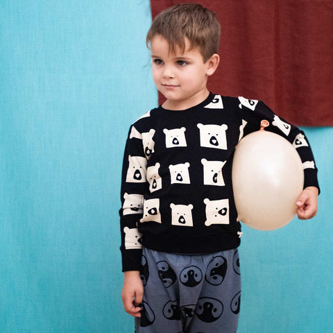 Turtledove London Bear Family Sweatshirt - Black-Long Sleeves- Natural Baby Shower