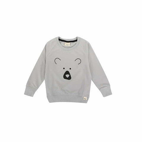 Turtledove London Bear Head Sweatshirt - Grey-Long Sleeves- Natural Baby Shower