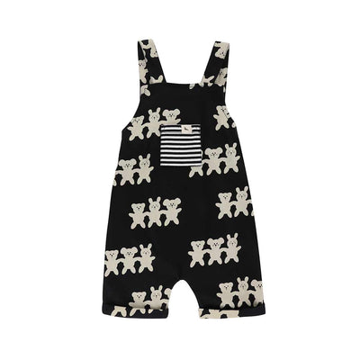 Turtledove London Besties Shortie Dungarees - Black-Dungarees- Natural Baby Shower