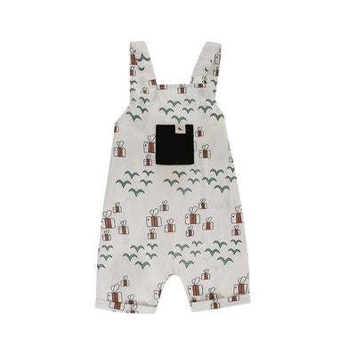 Turtledove London Birds + Bees Shortie Dungarees - Multi-Dungarees- Natural Baby Shower