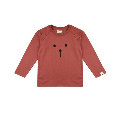 Turtledove London Brown Bear Top - Brick-Long Sleeves- Natural Baby Shower
