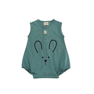 Turtledove London Bunny Face Bubble Romper - Sage-Rompers- Natural Baby Shower