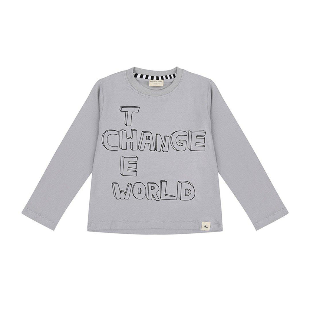 Turtledove London Change the World Top - Grey-Long Sleeves- Natural Baby Shower