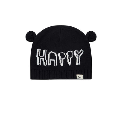 Turtledove London Happy Ears Knitted Hat - Black-Hats- Natural Baby Shower