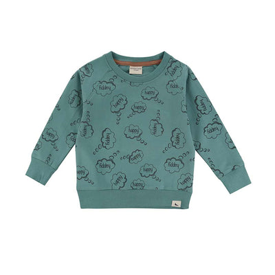 Turtledove London Happy Thoughts Sweatshirt - Sage-Long Sleeves- Natural Baby Shower