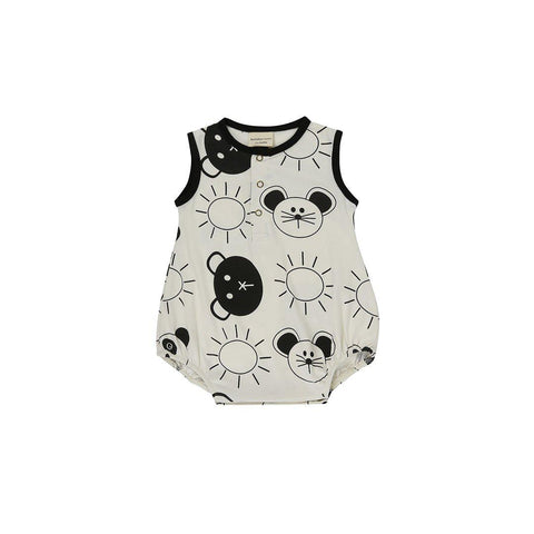 Turtledove London Jersey Bubble Romper - Friends Aop-Rompers- Natural Baby Shower