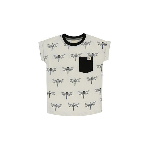 Turtledove London Long Length T-Shirt - Dragonfly Aop-Short Sleeves- Natural Baby Shower