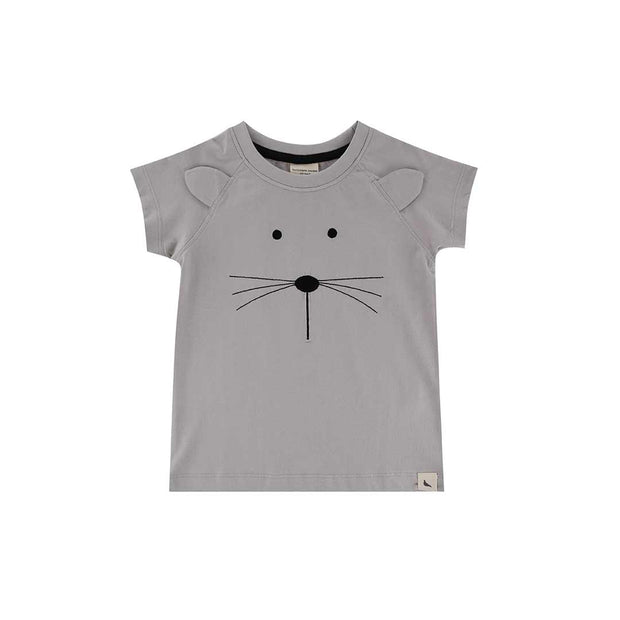 Turtledove London Mouse Face T-Shirt - Grey-Short Sleeves- Natural Baby Shower