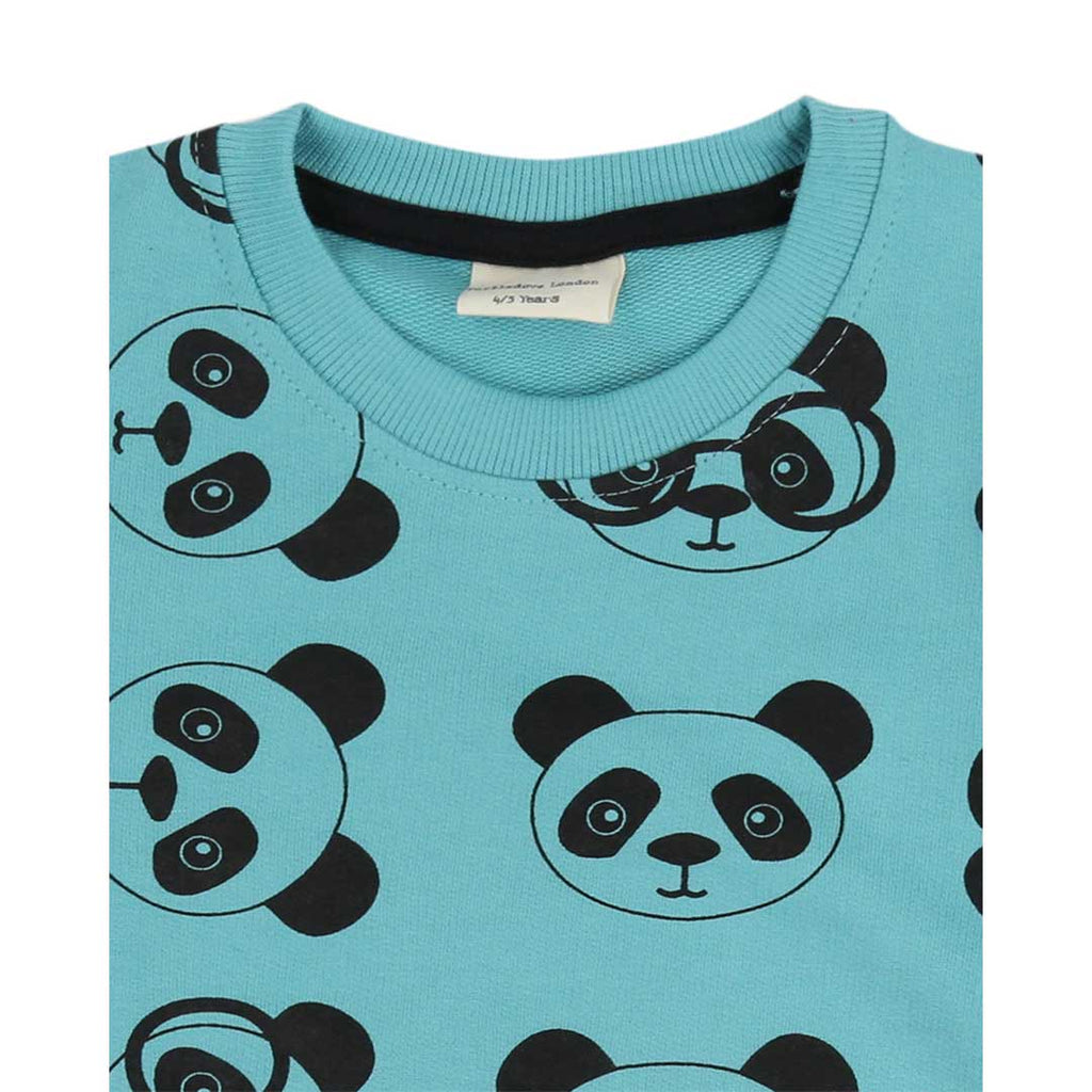 Turtledove London Panda Print Sweatshirt - Teal-Long Sleeves- Natural Baby Shower