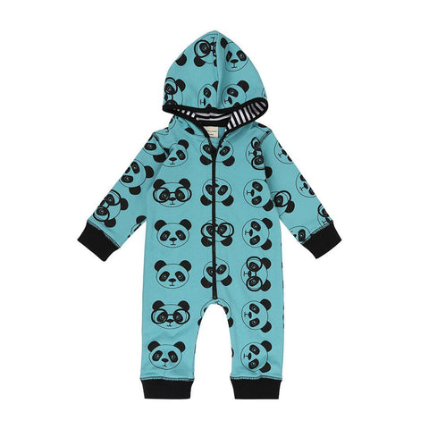 Turtledove London Panda Sweat Outersuit - Teal-Rompers- Natural Baby Shower