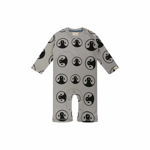 Turtledove London Penguin Face Playsuit - Grey-Rompers- Natural Baby Shower