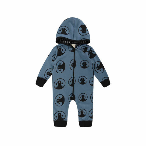 Turtledove London Penguin Head Outersuit - Petrol-Rompers- Natural Baby Shower