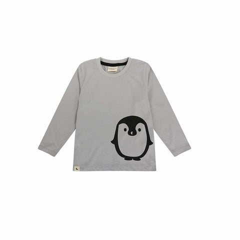 Turtledove London Penguin Placement Top - Grey-Long Sleeves- Natural Baby Shower