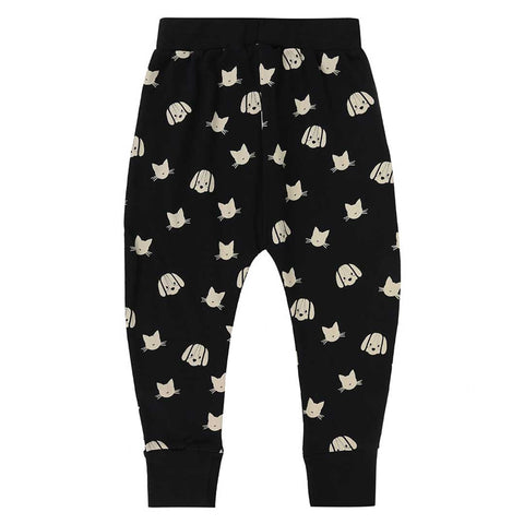 Turtledove London Percey and Maurice Harem Pants - Black/Ecru-Pants- Natural Baby Shower
