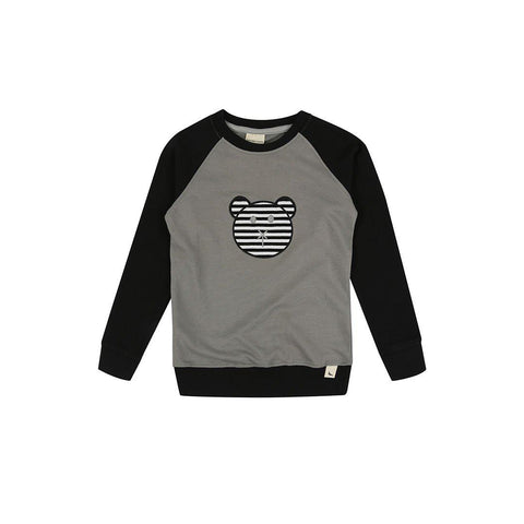 Turtledove London Raglan Applique Sweatshirt - Grey/Black-Long Sleeves- Natural Baby Shower