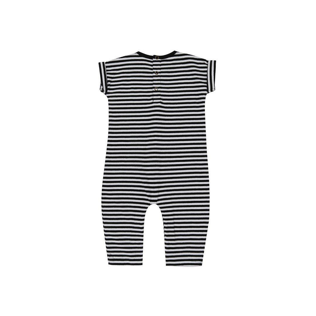 Turtledove London Roll Sleeve Playsuit - Stripe-Rompers- Natural Baby Shower