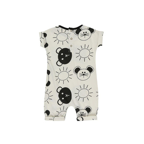 Turtledove London Roll Sleeve Romper - Beach Pals-Rompers- Natural Baby Shower