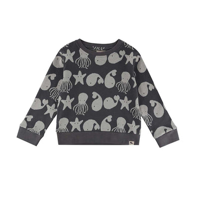 Turtledove London Sea Friends Jaquard Sweatshirt - Mono-Long Sleeves- Natural Baby Shower
