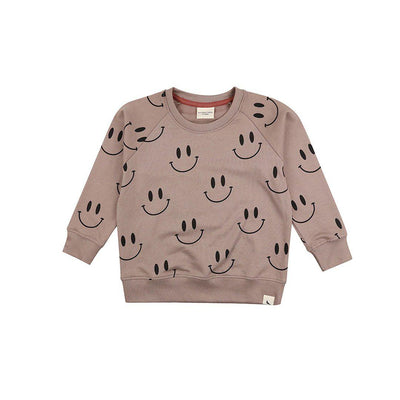 Turtledove London Smiley Sweatshirt - Stone-Jumpers- Natural Baby Shower