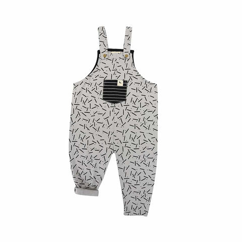 Turtledove London Sticks & Stones Easy Fit Dungarees - Grey-Dungarees- Natural Baby Shower