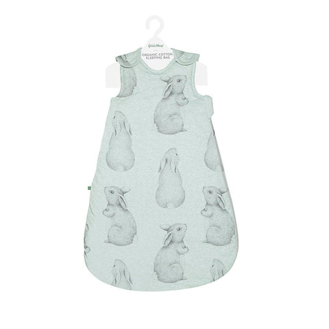 Wild Cotton Sleeping Bag - 1 TOG - Mint Bunny-Sleeping Bags- Natural Baby Shower