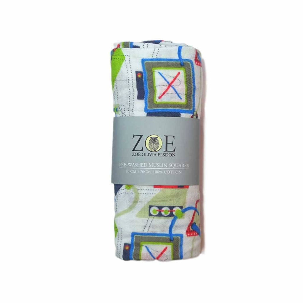 Zoe Olivia Elsdon Muslin Squares - Mechanised Dodos - 3 Pack - Muslin Squares - Natural Baby Shower