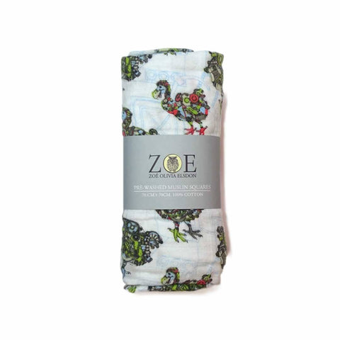Zoe Olivia Elsdon Muslin Square - Mechanised Dodos - Muslin Squares - Natural Baby Shower