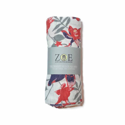 Zoe Olivia Elsdon Muslin Square in Columbine Flower