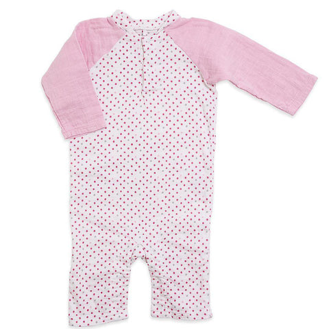 aden + anais Henley One-Piece - Bead Dot-Rompers- Natural Baby Shower