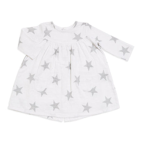 aden + anais Long Sleeve Pocket Dress - Micro Chip Star Front