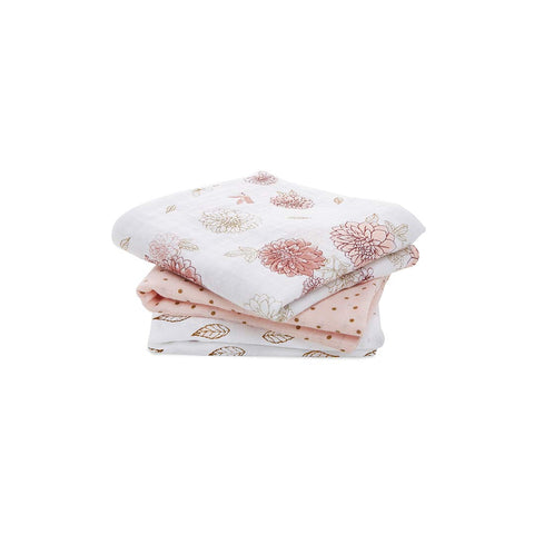 aden + anais Classic Musy - Dahlia - 3 Pack-Muslin Squares- Natural Baby Shower