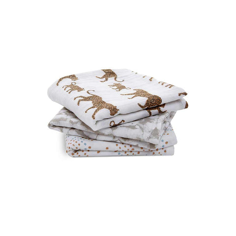 aden + anais Classic Musy - Hear Me Roar - 3 Pack-Muslin Squares- Natural Baby Shower