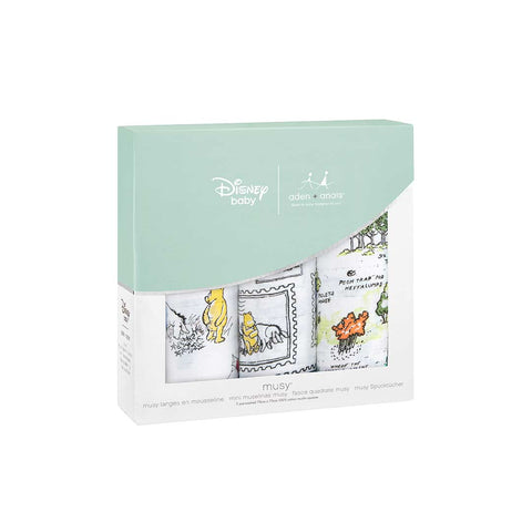 aden + anais Classic Musy - Winnie The Pooh - 3 Pack-Muslin Squares-Winnie The Pooh- Natural Baby Shower