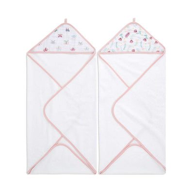 aden + anais Essentials Hooded Towel - Floral Fauna - 2 Pack-Towels & Robes- Natural Baby Shower