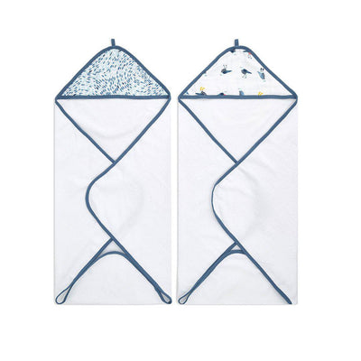 aden + anais Essentials Hooded Towel - Seashore - 2 Pack-Towels & Robes- Natural Baby Shower