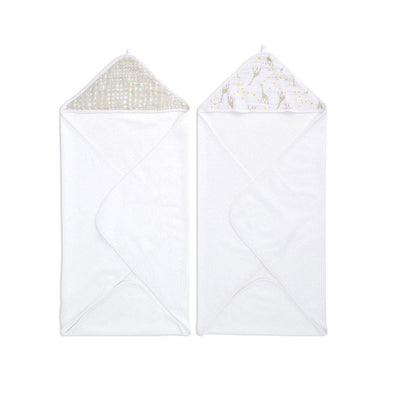 aden + anais Essentials Hooded Towel - Starry Star - 2 Pack-Towels & Robes- Natural Baby Shower