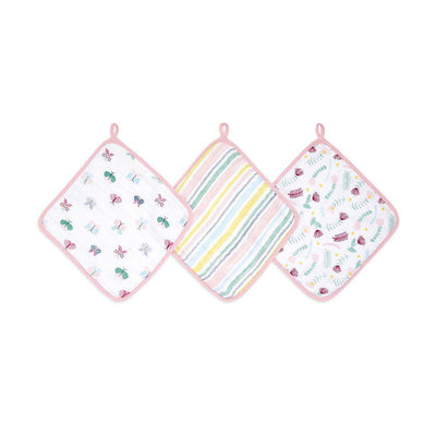 aden + anais Essentials Washcloths - Floral Fauna - 3 Pack-Washcloths- Natural Baby Shower