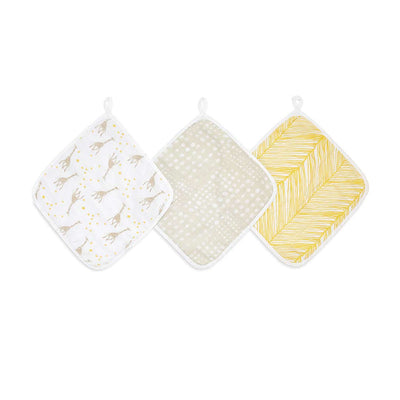 aden + anais Essentials Washcloths - Starry Star - 3 Pack-Washcloths- Natural Baby Shower