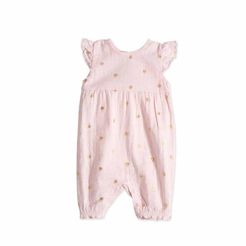 aden + anais Flutter Sleeve Romper in Metallic Primrose Water Dot