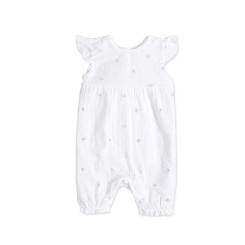 aden + anais Flutter Sleeve Romper in Metallic Silver Water Dot