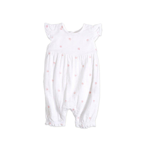 aden + anais Flutter Sleeve Romper Rose Water Dot