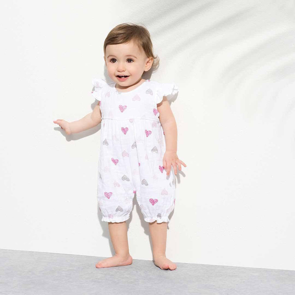 aden + anais Flutter Sleeve Romper - Sketch Hearts Lifestyle