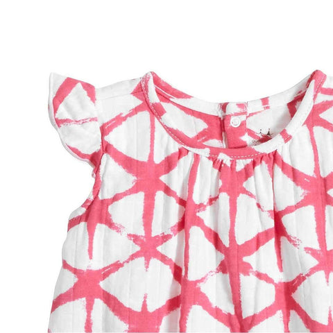 aden + anais Flutter Sleeve Top - Cubic Berry Shibori-Short Sleeves- Natural Baby Shower