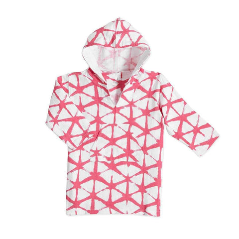aden + anais Long Sleeve Beach Hoodie in Cubic Berry Shibori