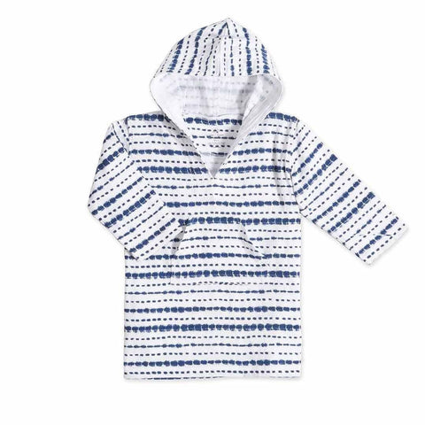 aden + anais Long Sleeve Beach Hoodie in Cubic Indigo Shibori