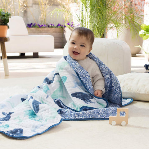 aden + anais Muslin Dream Blanket - Seafaring-Blankets-Seafaring- Natural Baby Shower