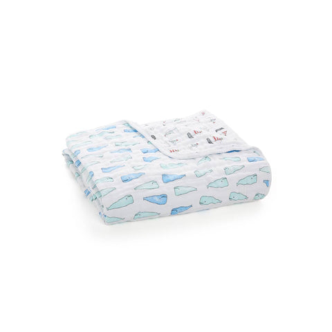 aden + anais Muslin Dream Blanket - Whales + Boats-Blankets-Whales + Boats- Natural Baby Shower