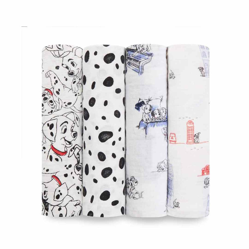 aden + anais Muslin Swaddles - 101 Dalmatians - 4 Pack-Swaddling Wraps-101 Dalmatians- Natural Baby Shower